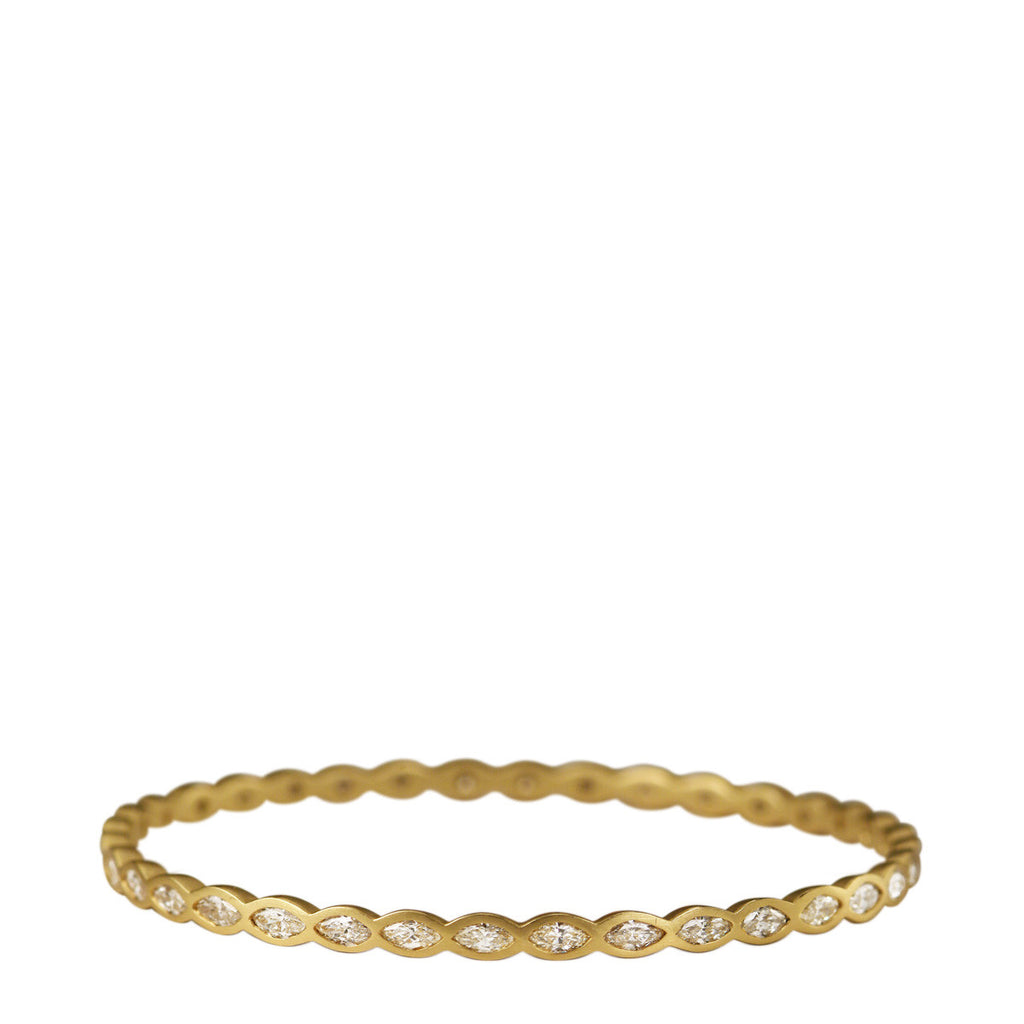 18K Gold Marquise Diamond Bangle