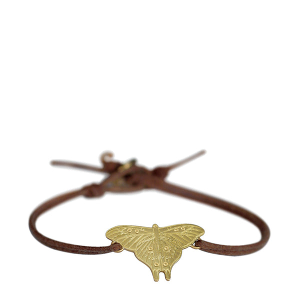18K Gold Large Butterfly Bracelet on Cord