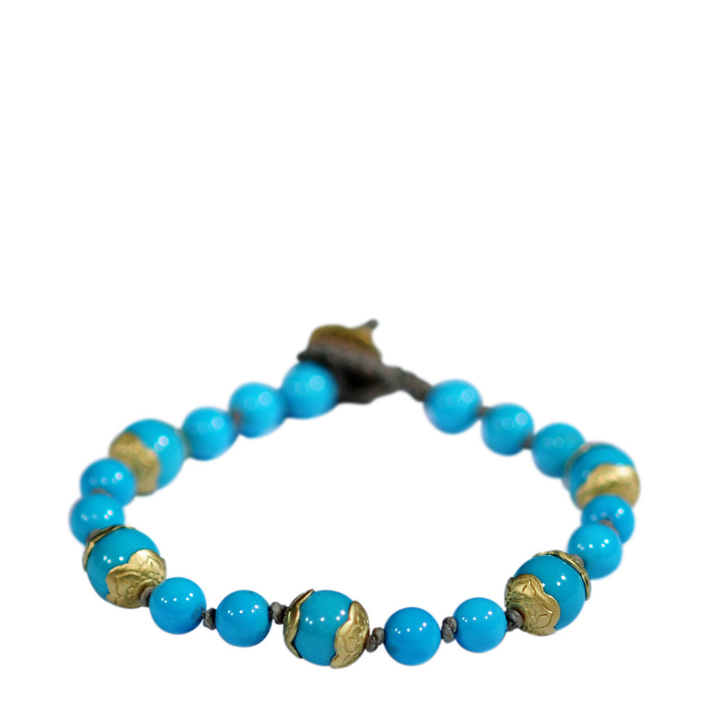 18K Gold Turquoise Flower Cap Bracelet on Cord