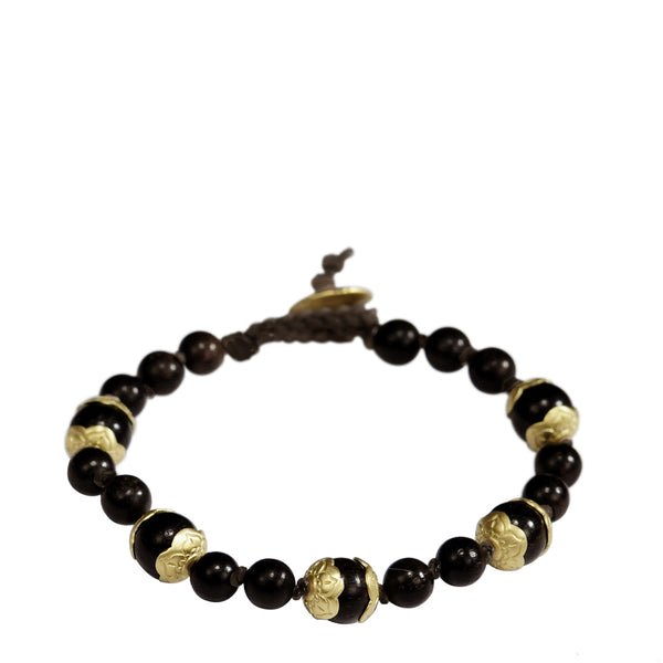 18K Gold Vintage Ebony Flower Cap Bead Bracelet on Cord