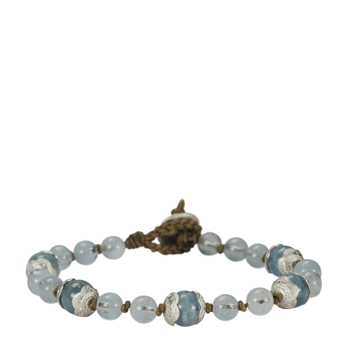 Sterling Silver Aquamarine Flower Cap Bracelet on Cord