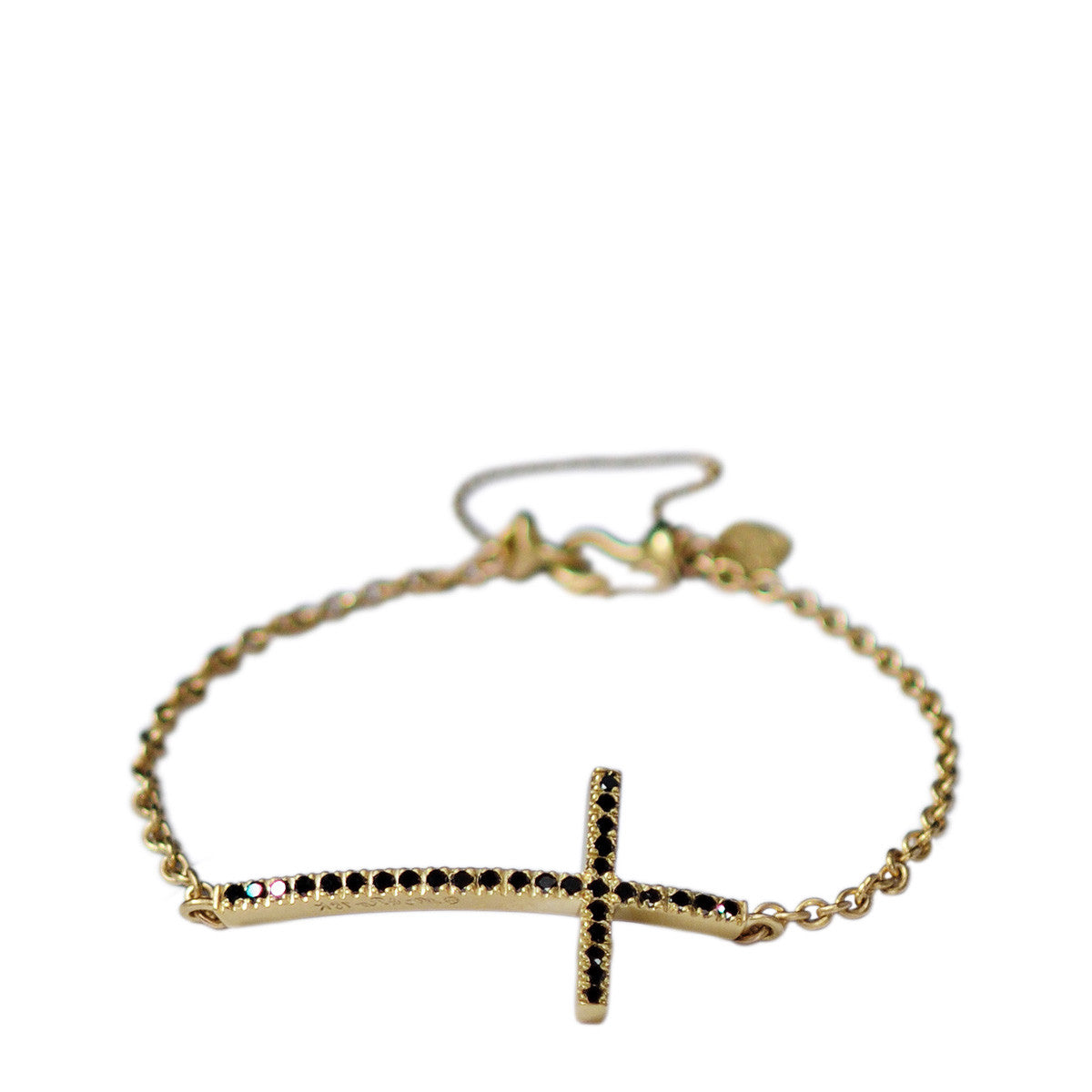 18K Gold Pave Cross Bracelet with Black Diamonds