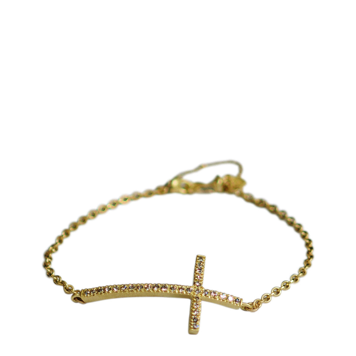 18K Gold Pave Cross Bracelet with Diamonds