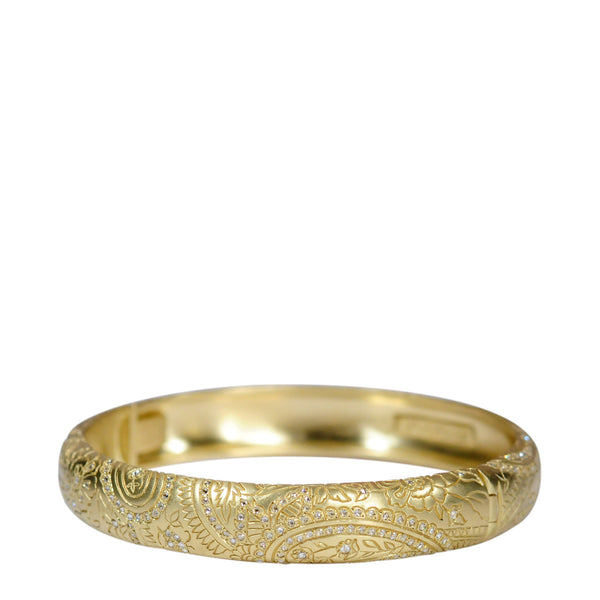 18K Gold Paisley Hinge Cuff with Diamonds