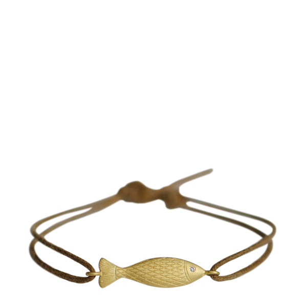18K Gold Fish Bracelet with Diamond Eye on Natural Cord