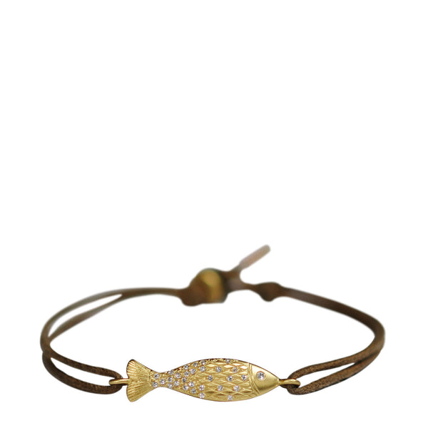 18K Gold Fish Bracelet with Diamond Scales on Cord