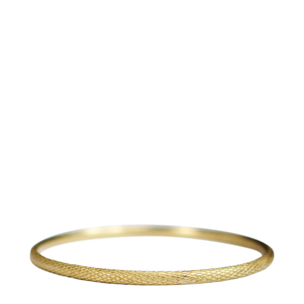 18K Gold Wide Fish Scale Bangle