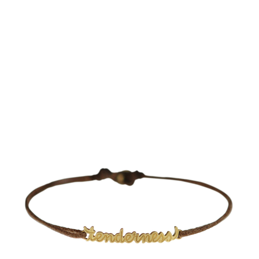 18K Gold 'Tenderness' Script Bracelet on Cord