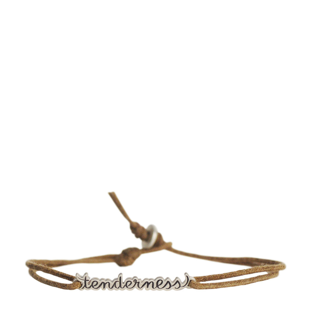 Sterling Silver 'Tenderness' Script Bracelet on Cord