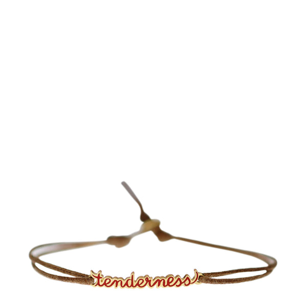 18K Gold 'Tenderness' Enamel Script Bracelet on Cord