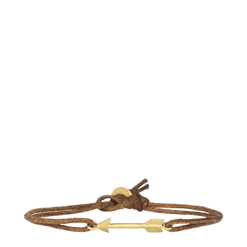 18K Gold Medium Arrow Bracelet on Cord