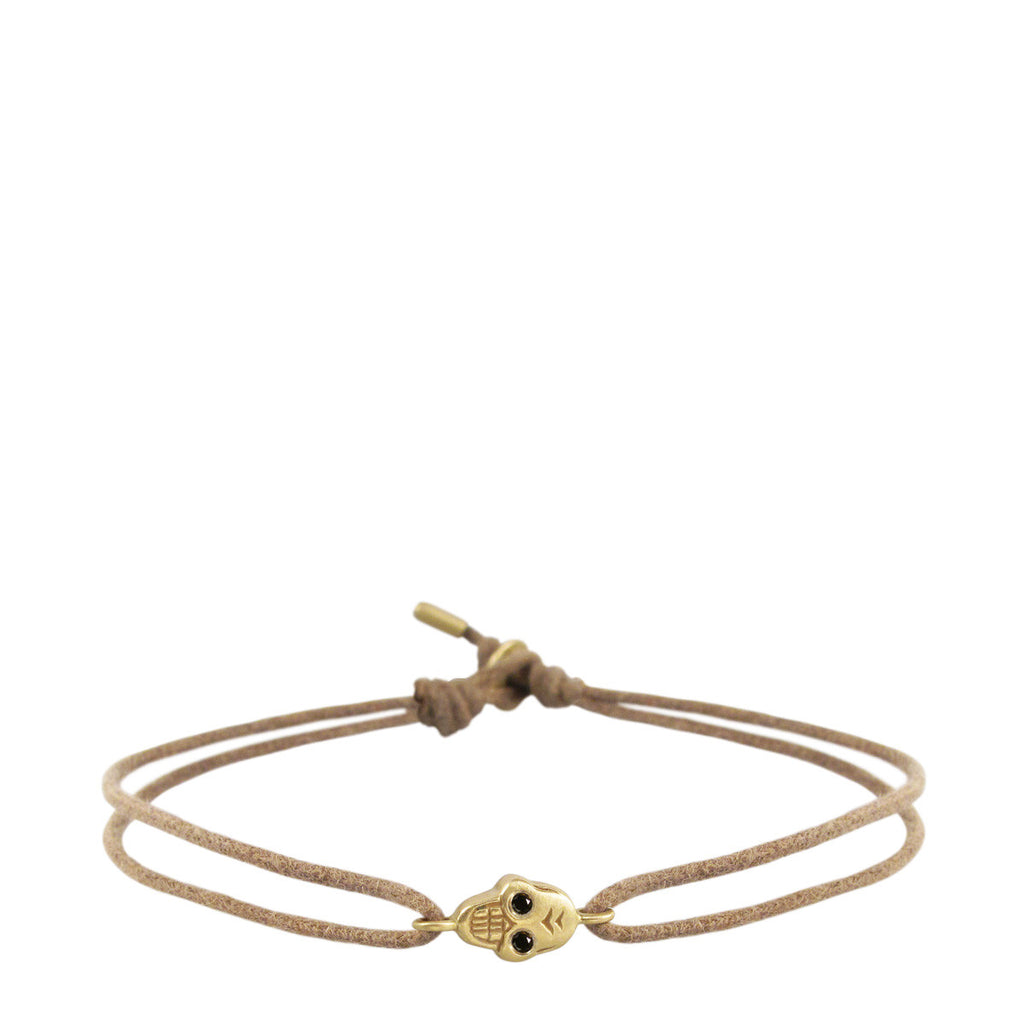 18K Gold Tiny Skull Bracelet on Cord with Black Diamond Eyes