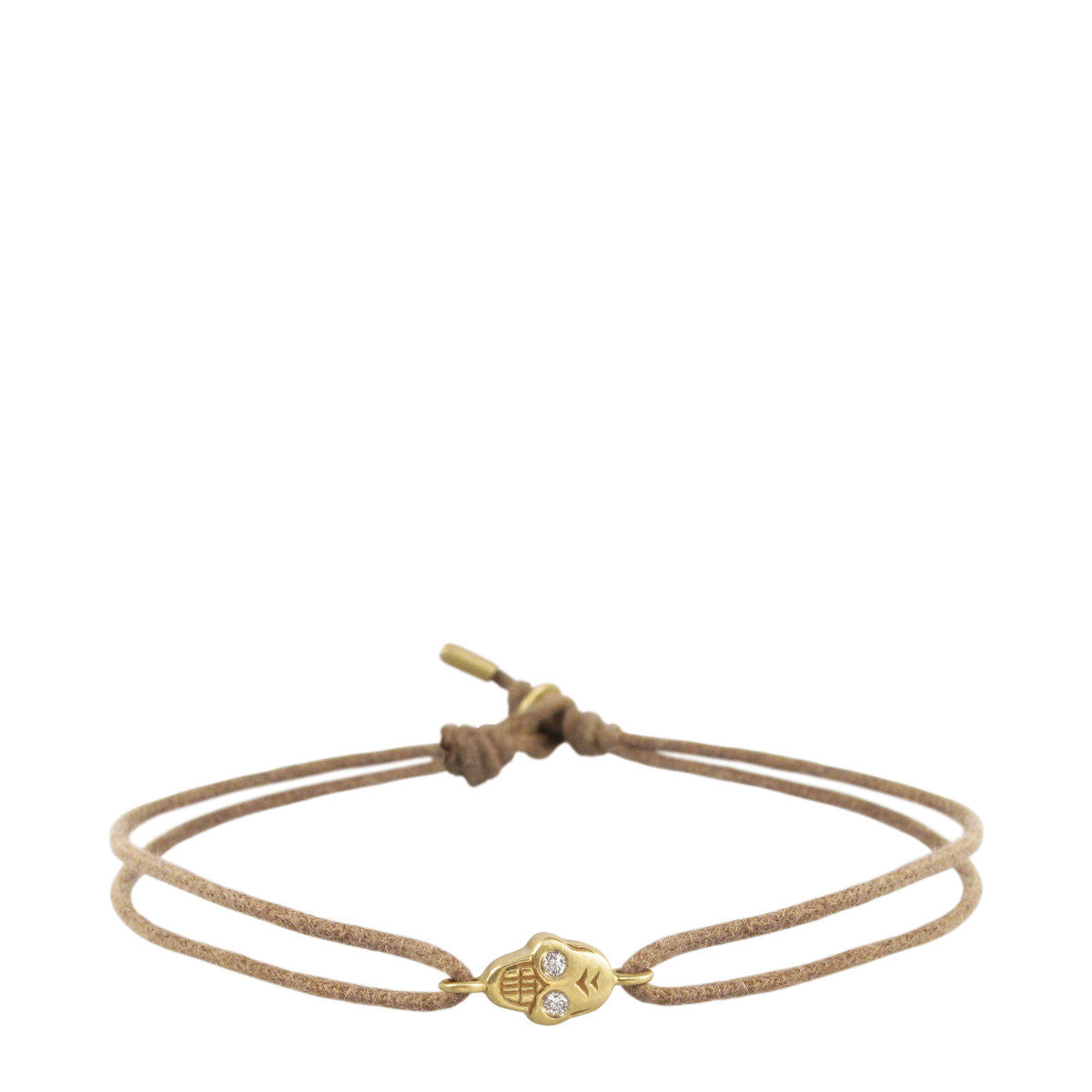 18K Gold Tiny Skull Bracelet on Cord with Diamond Eyes