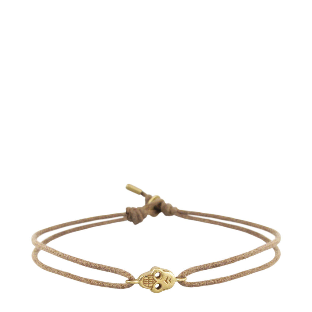 18K Gold Tiny Skull Bracelet on Cord