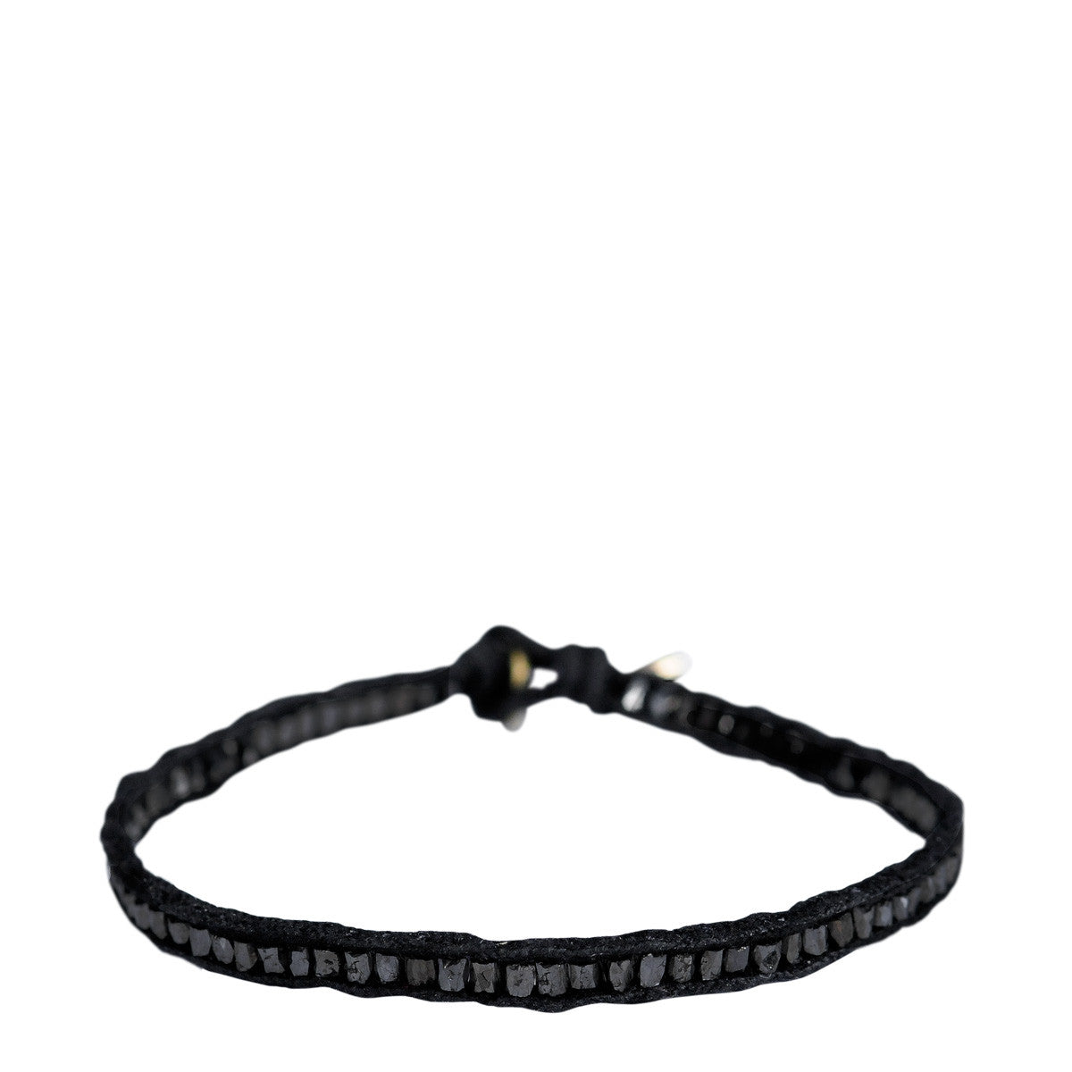 18K Gold Black Diamond Tube Bead Bracelet