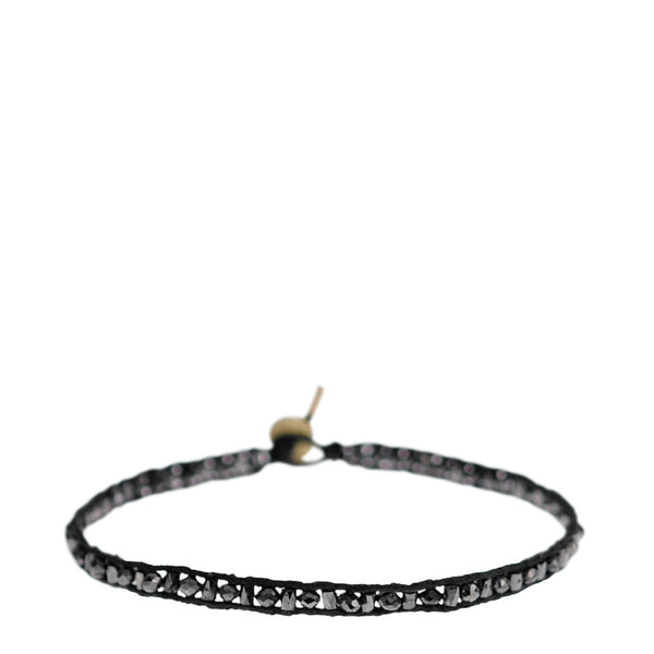 18K Gold Single Row Tube and Rondelle Bracelet with Black Diamonds
