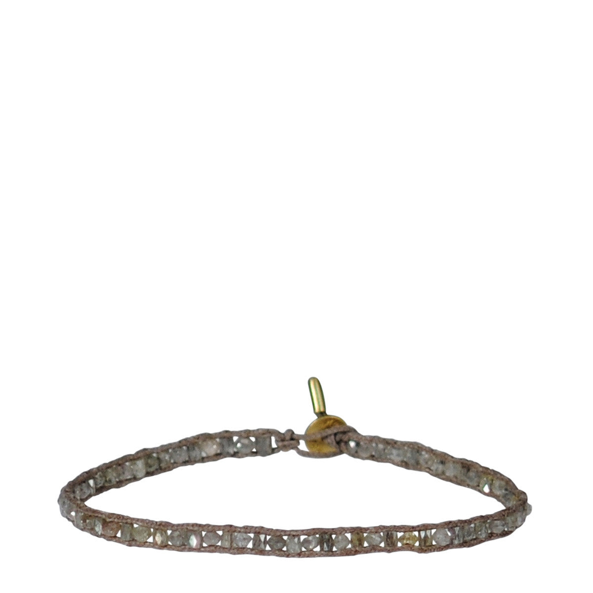 18K Gold Single Row Tube and Rondelle Bracelet with Grey Diamonds