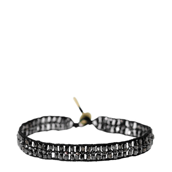18K Gold Triple Row Tube and Rondelle Bracelet with Black Diamonds