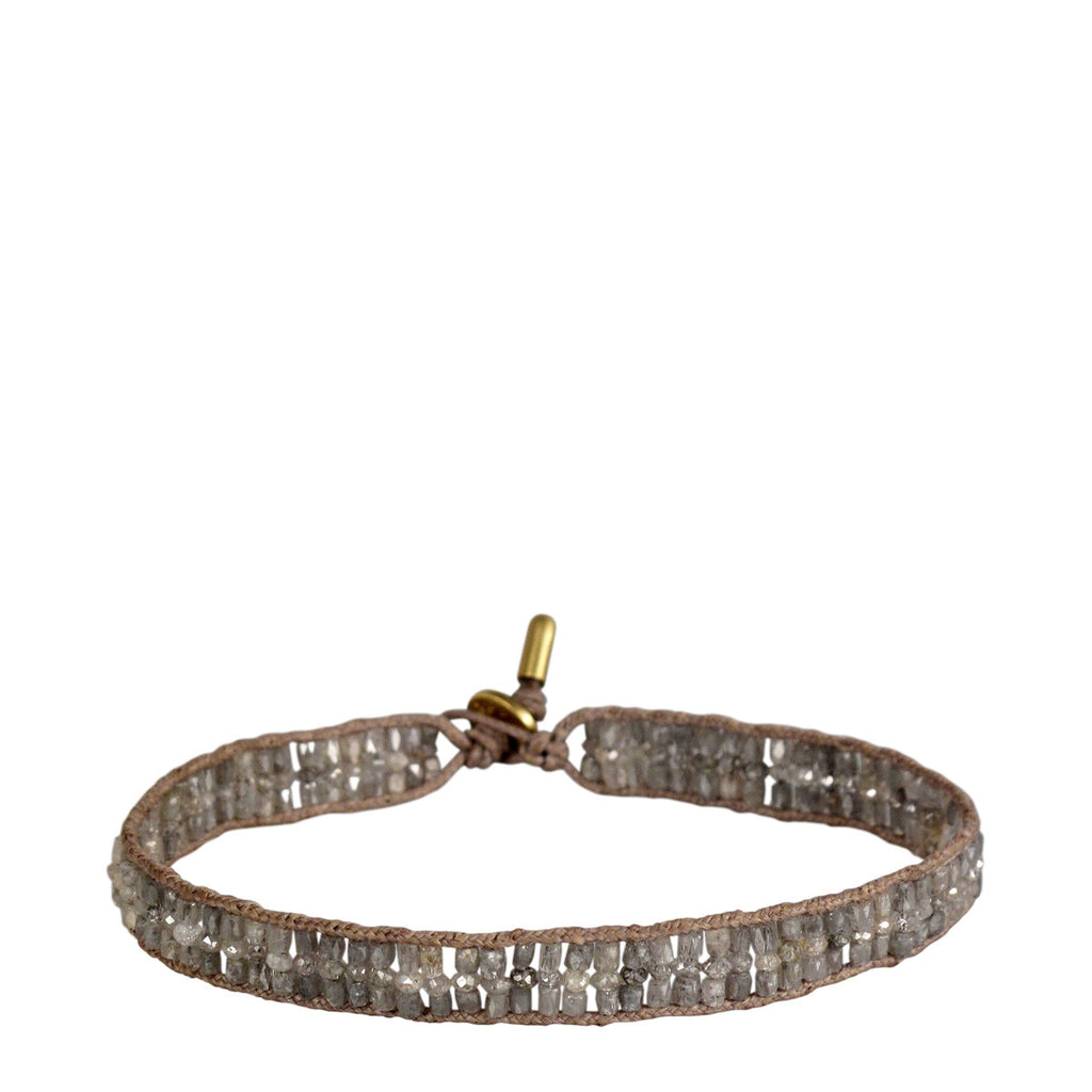 18K Gold Triple Row Tube and Rondelle Bracelet with Grey Diamonds