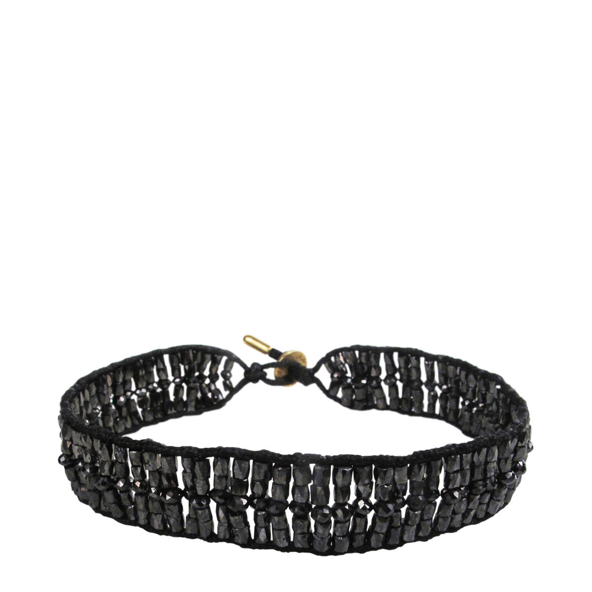 18K Gold Wide Woven Tube and Rondelle Bracelet in Black Diamonds