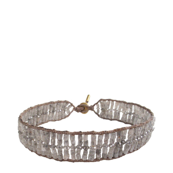 18K Gold Wide Woven Tube and Rondelle Bracelet in Grey Diamonds