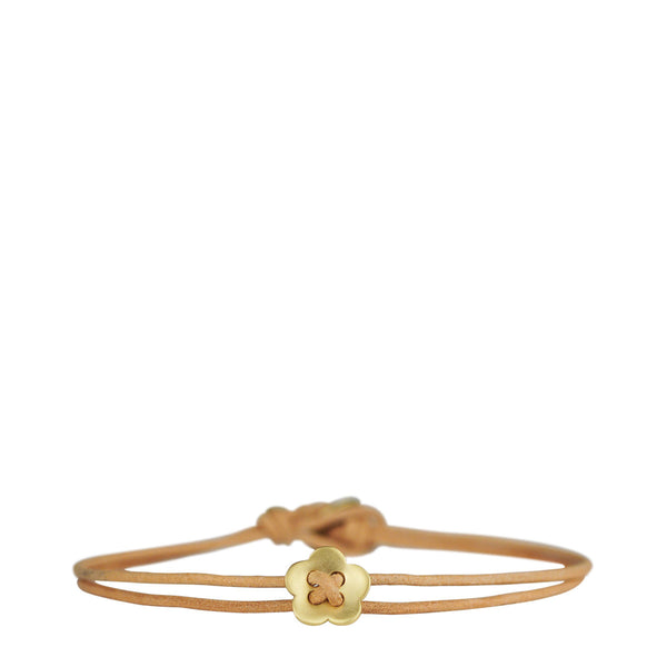 18K Gold Small Single Flower Bracelet on Natural Cord
