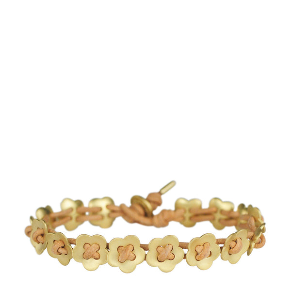 18K Gold Small Full Flower Bracelet on Natural Leather