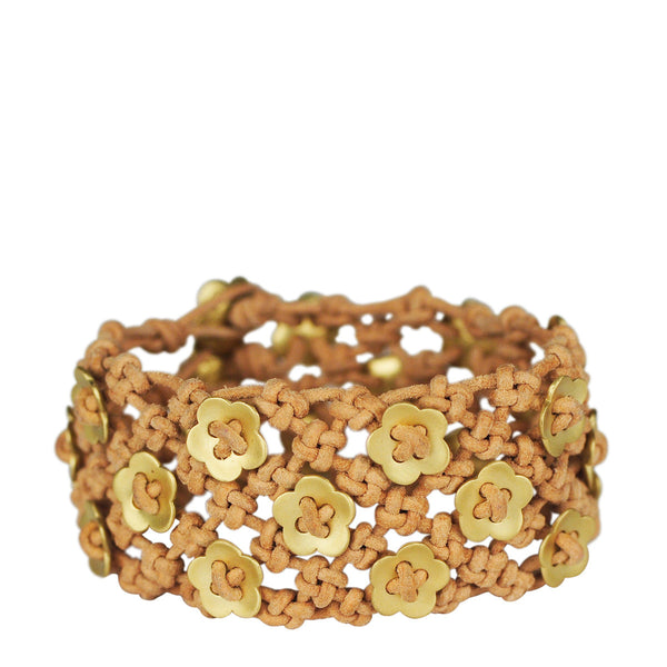 18K Gold Wide Woven Flower Bracelet on Natural Leather