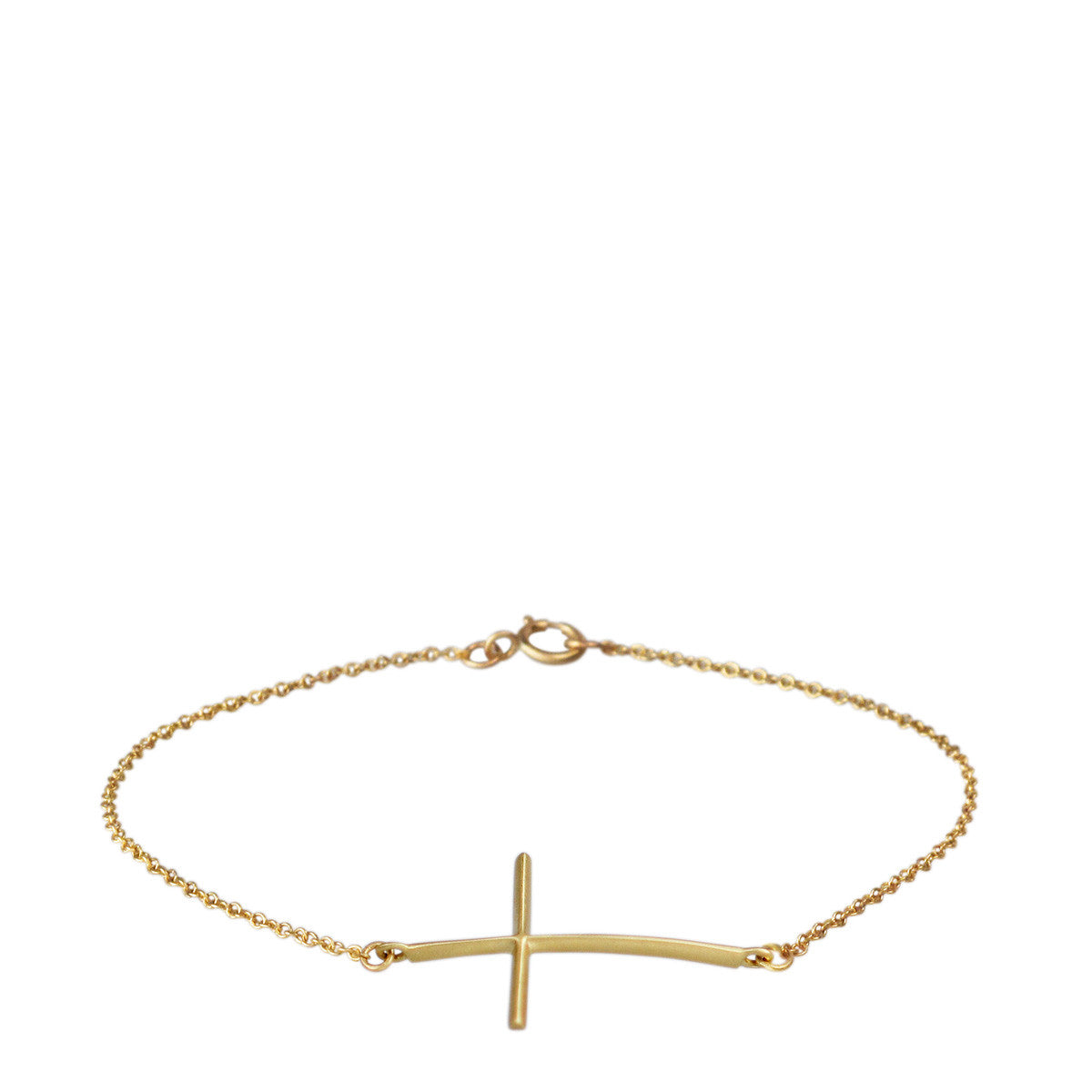 18K Gold Fine Cross Bracelet