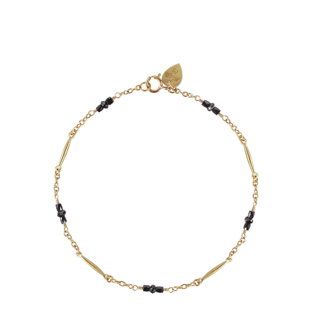 18K Gold Lure Bracelet with Black Diamonds