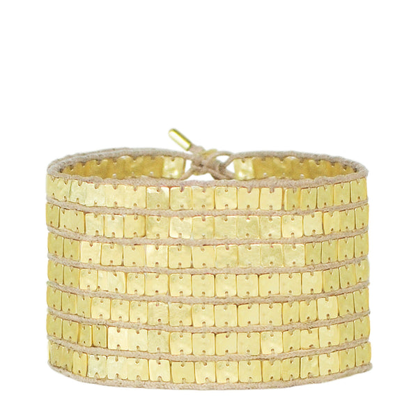 18K Gold Seven Row Tiny Sequin Squares on Cord