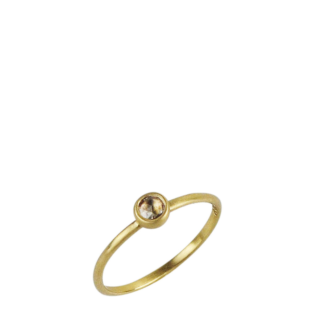 18K Gold Tiny Brown Diamond Ring