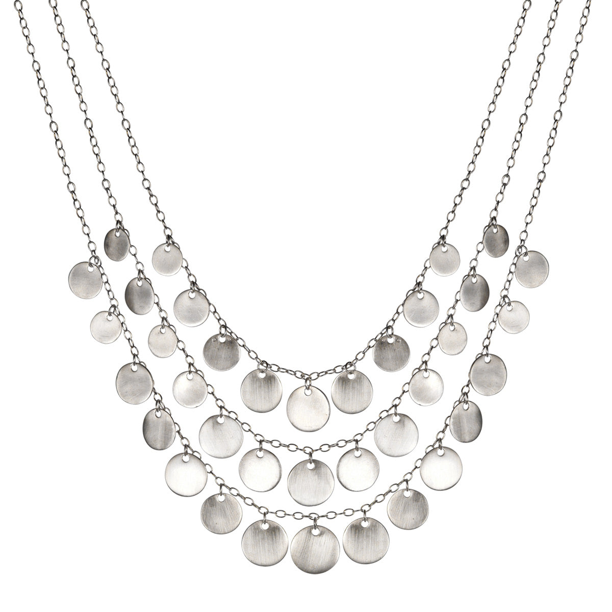 Sterling silver disks necklace Statement necklace with silver disks.