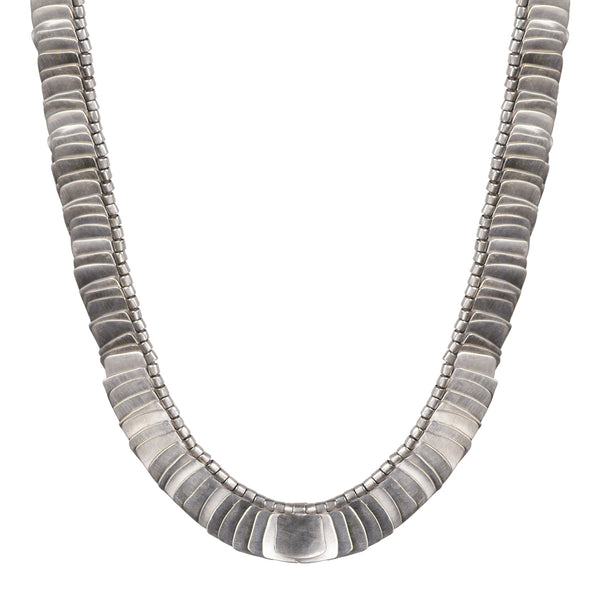 Sterling Silver Full Flattened Metal Necklace on Cord with Iolite Bead Closure