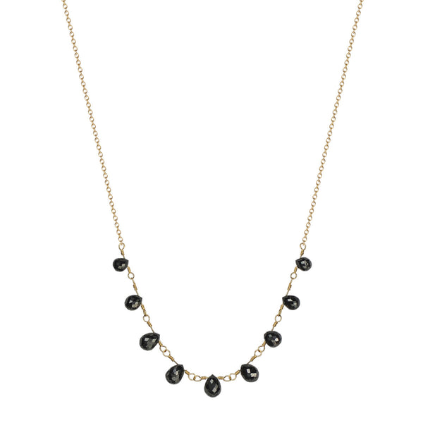 18K Gold 9 Black Diamond Briolette Necklace