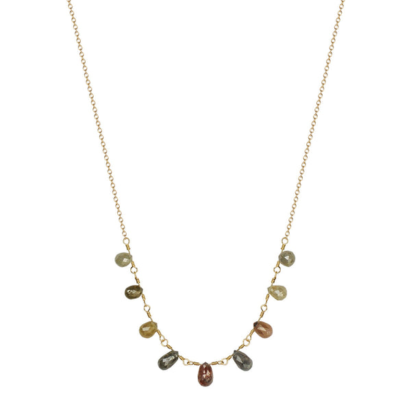 18K Gold 9 Multi Opaque Briolette Necklace