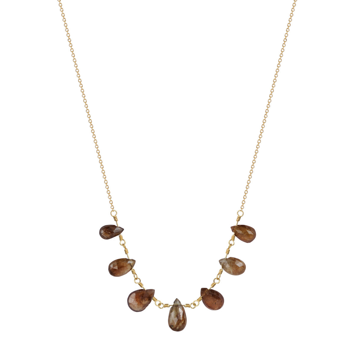 18K Gold 7 Teardrop Burnt Orange Sapphire Necklace