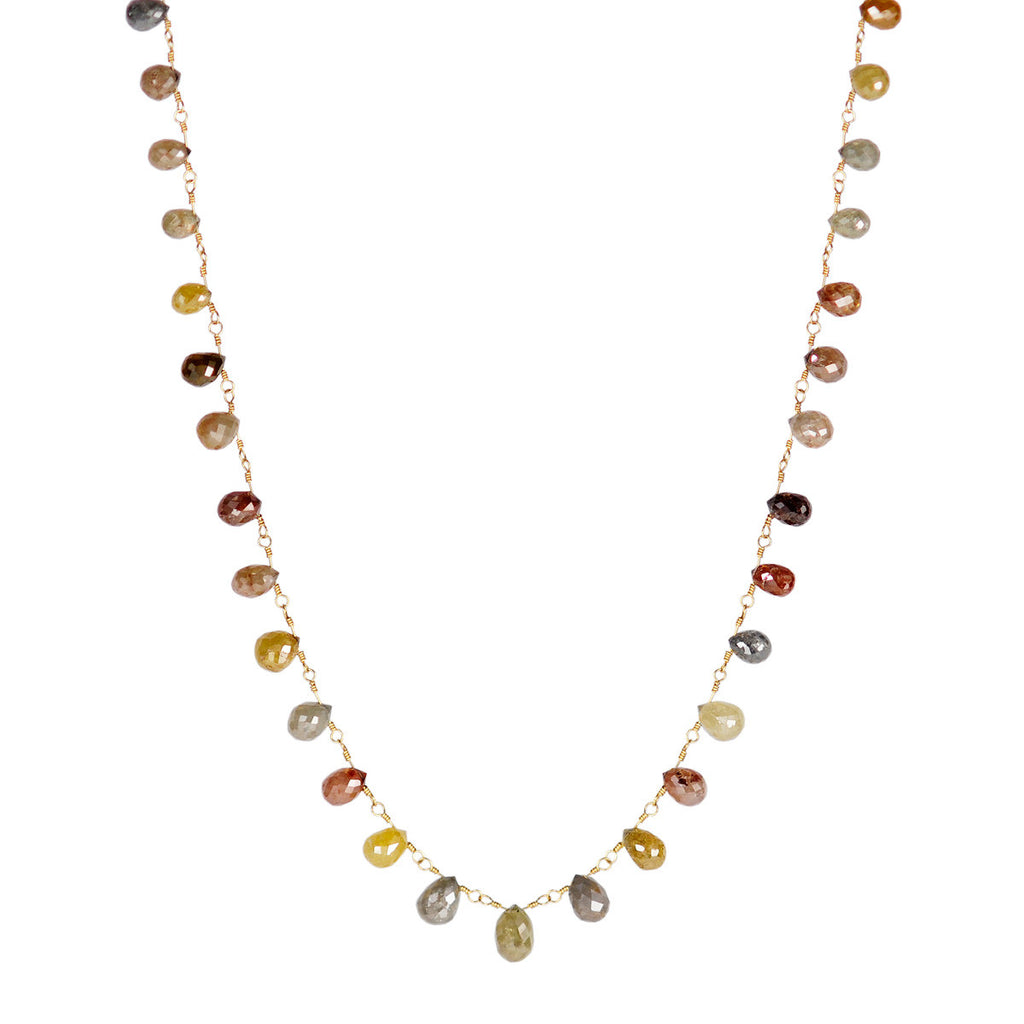 18K Gold Multi Color Diamond Briolette Chain
