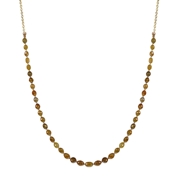 18K Gold Knotted Oval Opaque Diamond Chain