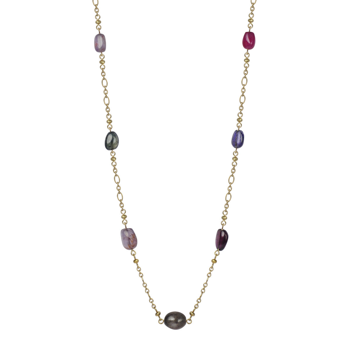 18K Gold Tumbled Multi Colored Sapphire Chain