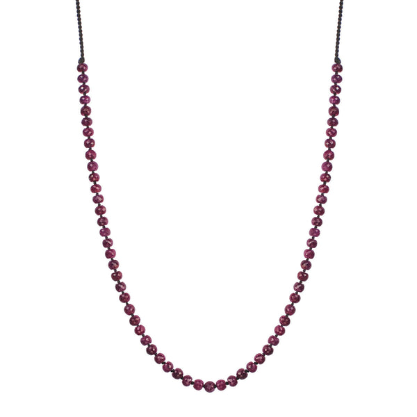 18K Gold Knotted Ruby Rondelle Necklace