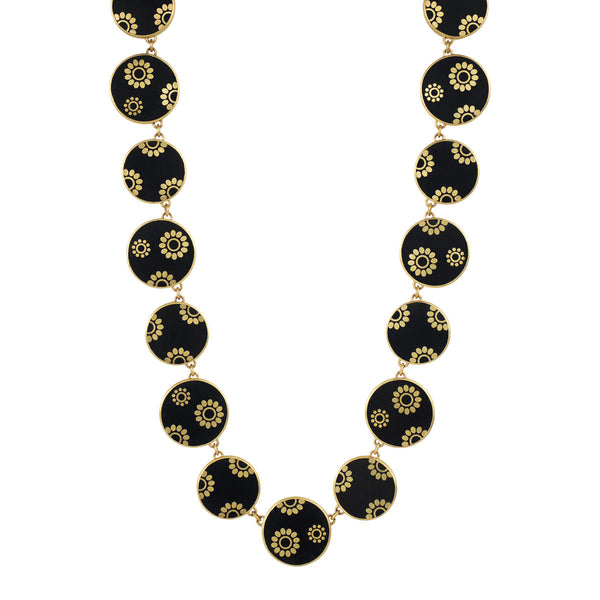 18K Gold Full Ebony Flower Necklace with Inlaid Gold Flowers and Diamonds