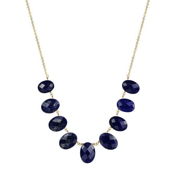 18K Gold Medium Lapis Beaded Necklace