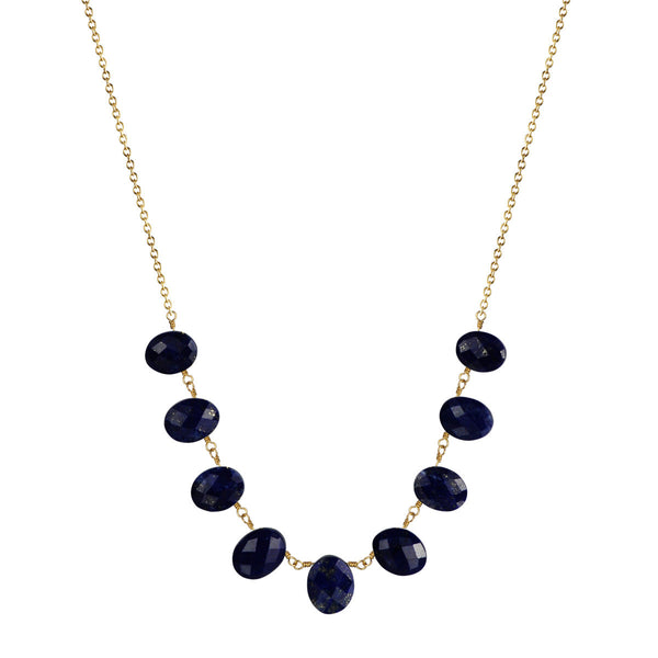 18K Gold Small Lapis Beaded Necklace