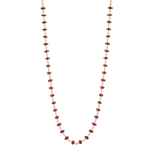18K Gold Ruby Rondelle Necklace