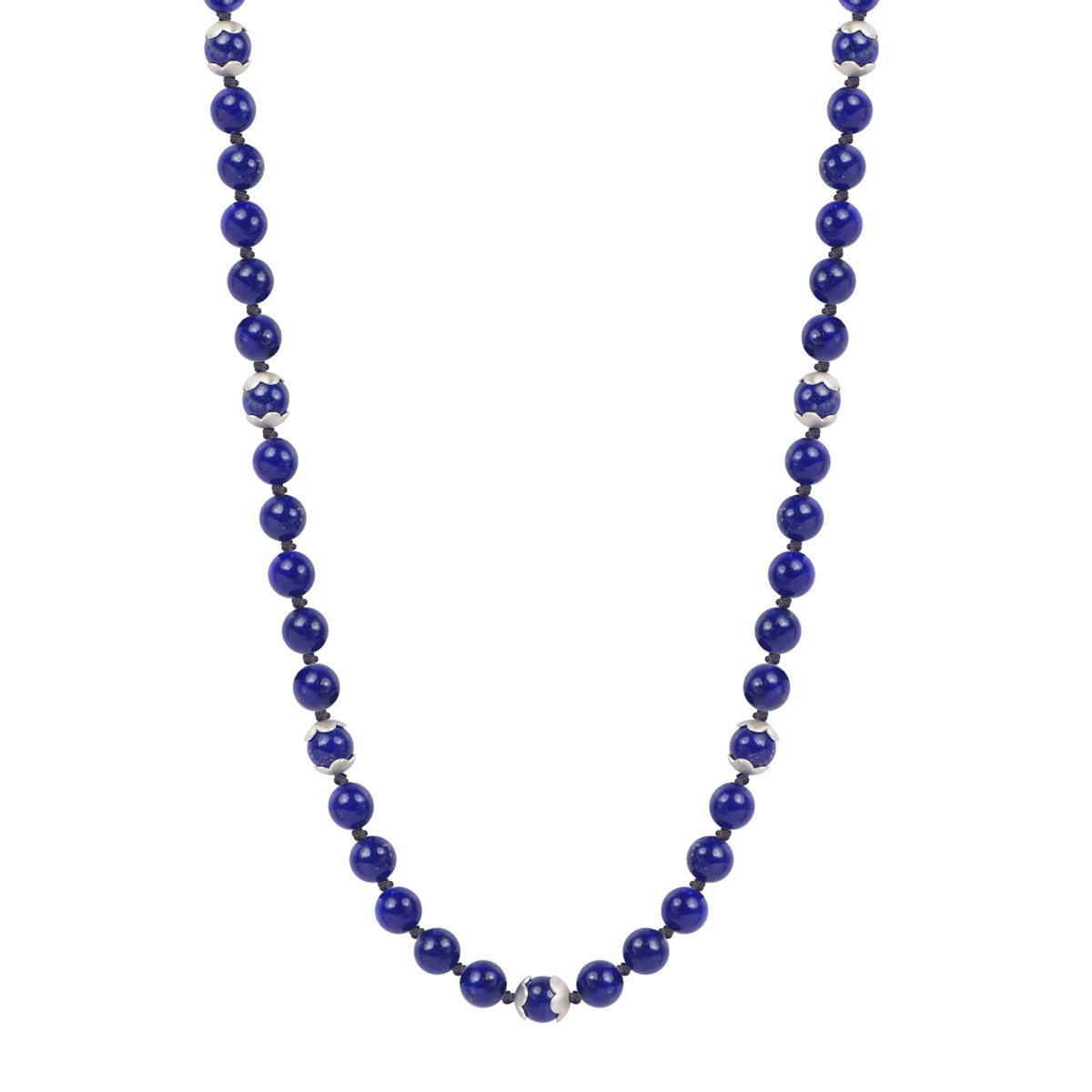Sterling Silver Flower Cap Lapis Bead Necklace on Cord