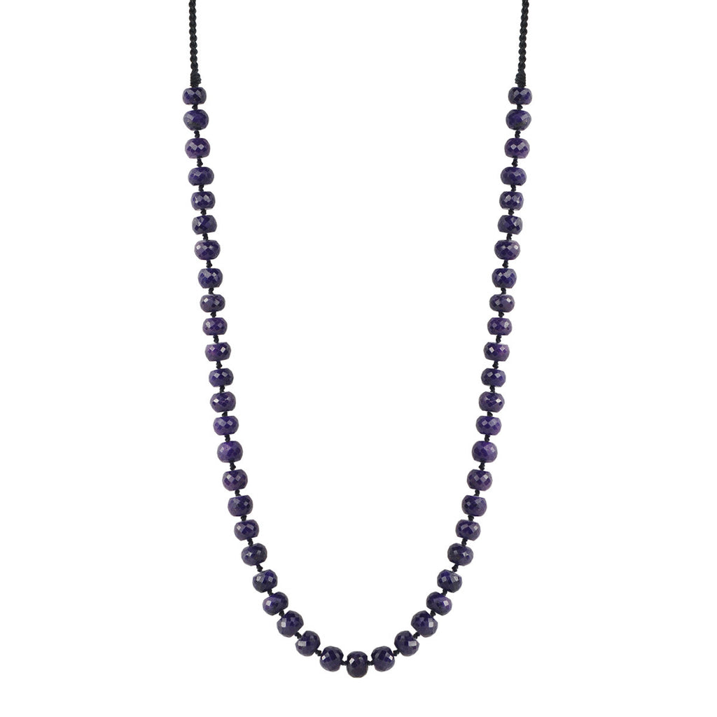 18K Gold Knotted Sapphire Beaded Necklace
