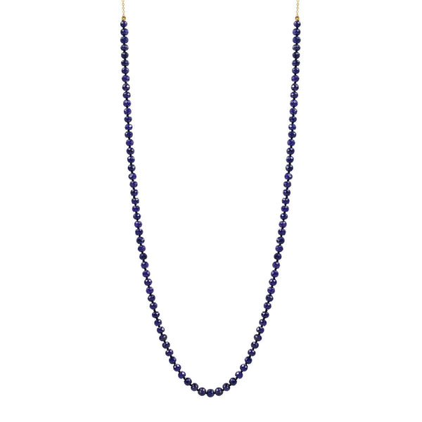 18K Gold Knotted Sapphire Beaded Necklace on Chain