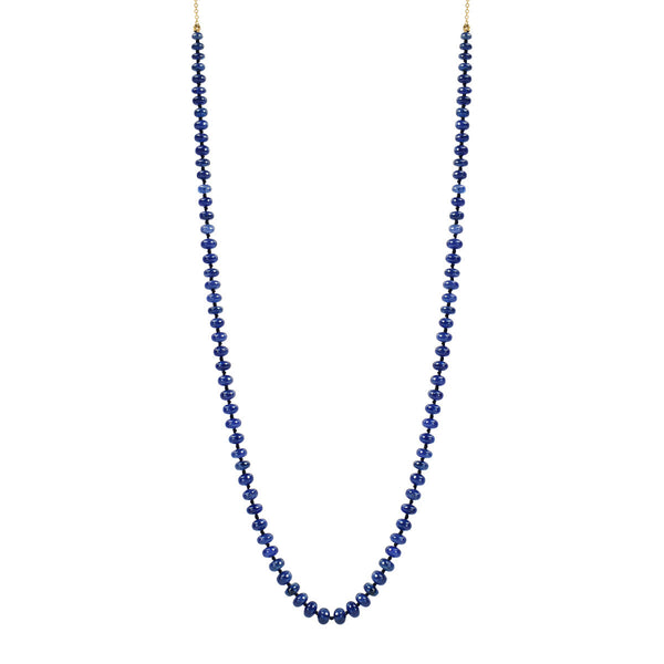 18K Gold Knotted Sapphire Rondelle Necklace on Chain