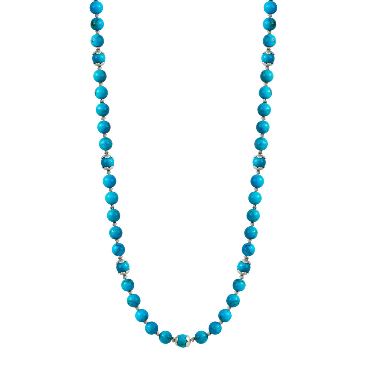 Sterling Silver Flower Cap Turquoise Bead Necklace on Cord